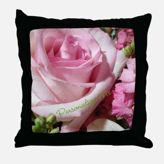 Personalized Rose Throw Pillow