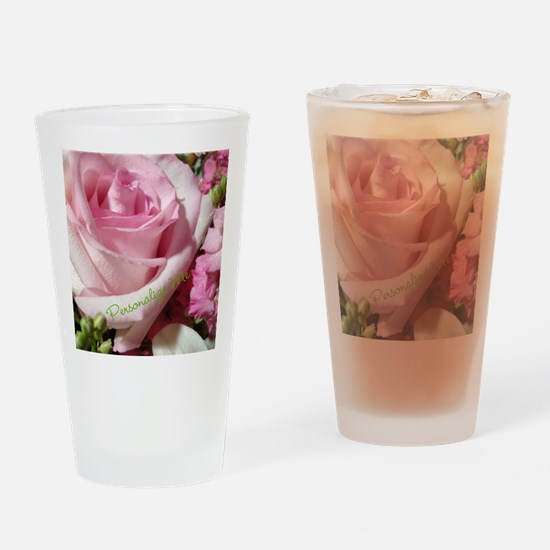 Personalized Rose Drinking Glass