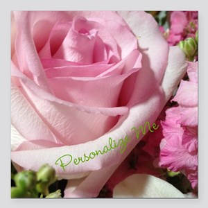 """Personalized Rose Square Car Magnet 3"""" x 3"""""""