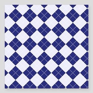 "Argyle in Blue Square Car Magnet 3"" x 3"""
