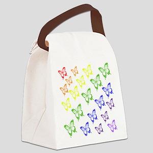 rainbow butterflies Canvas Lunch Bag