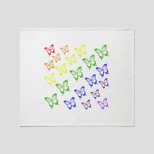 rainbow butterflies Throw Blanket