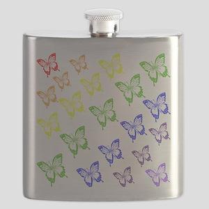 rainbow butterflies Flask