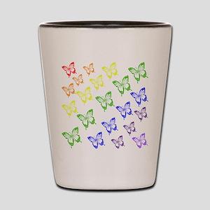 rainbow butterflies Shot Glass