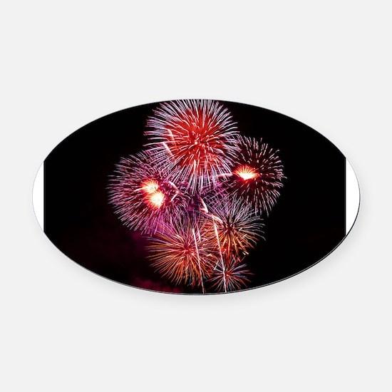 Fireworks Oval Car Magnet