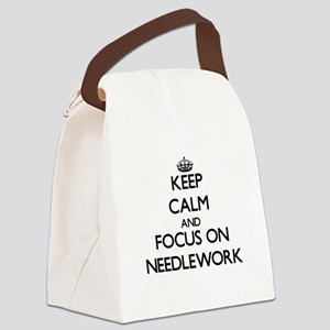 Keep Calm and focus on Needlework Canvas Lunch Bag