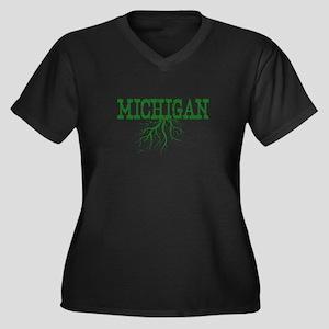 Michigan Roo Women's Plus Size V-Neck Dark T-Shirt