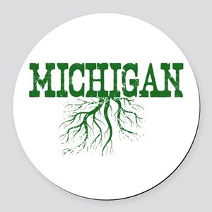 Michigan Roots Round Car Magnet