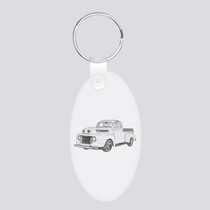 1950 Ford F1 Aluminum Oval Keychain