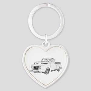 1950 Ford F1 Heart Keychain