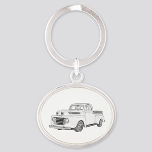 1950 Ford F1 Oval Keychain