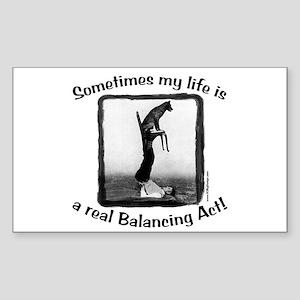 Balancing Act Rectangle Sticker