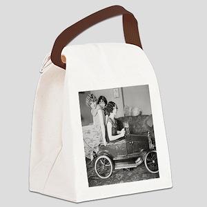 Flapper Girls Riding Pedal Car, 1 Canvas Lunch Bag