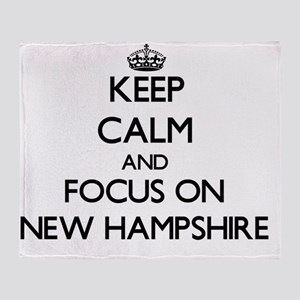 Keep Calm and focus on New Hampshire Throw Blanket