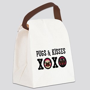 Pugs & Kisses With Black Text Canvas Lunch Bag