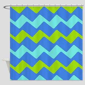 Refreshing Blue Chevrons Shower Curtain