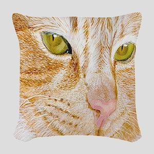 Pumpkin the Yellow Cat Woven Throw Pillow