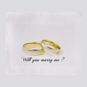 wedding bands Will you marry me? Throw Blanket
