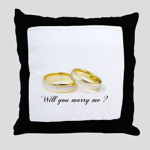 wedding bands Will you marry me? Throw Pillow