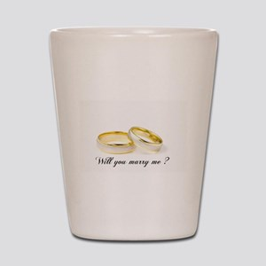 wedding bands Will you marry me? Shot Glass