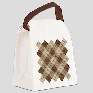 Brown Plaid Canvas Lunch Bag