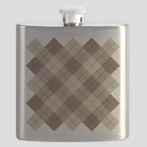 Brown Plaid Flask