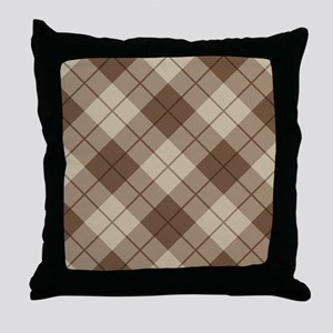 Brown Plaid Throw Pillow
