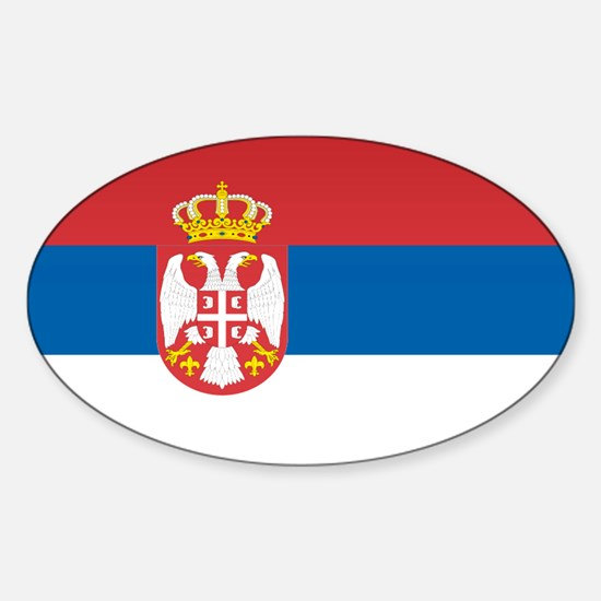 Serbia Flag Oval Decal