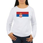 Serbia Flag Women's Long Sleeve T-Shirt