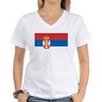 Serbia Flag Women's V-Neck T-Shirt