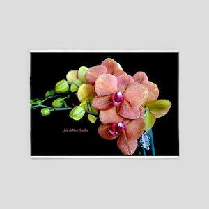 Orange Orchids 2 5'x7'Area Rug