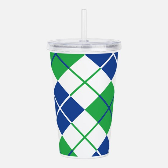 Argyle Design in Blue Acrylic Double-wall Tumbler
