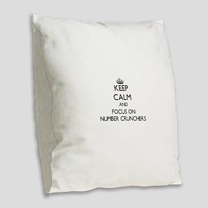 Keep Calm and focus on Number Burlap Throw Pillow
