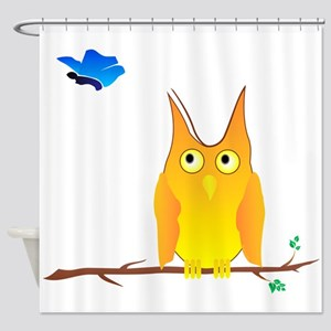 Owl and Butterfly Shower Curtain