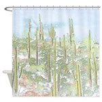 Many Saguaros Recreated Shower Curtain