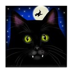 HALLOWEEN BLACK CAT VAMPIRE Tile Coaster