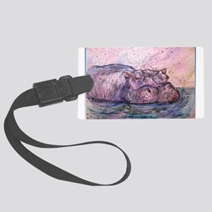 Hippo, wildlife art Luggage Tag