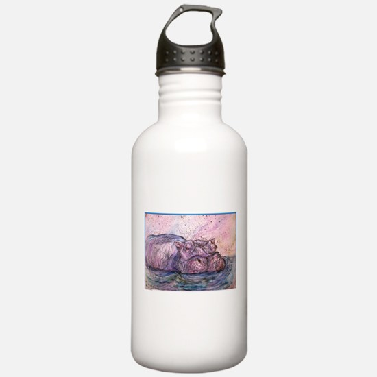 Hippo, wildlife art Water Bottle