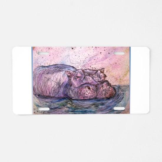 Hippo, wildlife art Aluminum License Plate