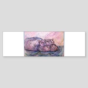 Hippo, wildlife art Bumper Sticker