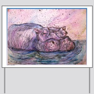 Hippo, wildlife art Yard Sign