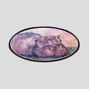 Hippo, wildlife art Patches