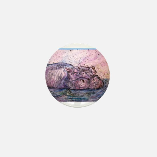 Hippo, wildlife art Mini Button