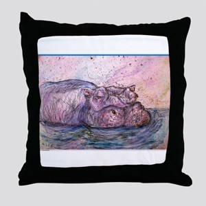 Hippo, wildlife art Throw Pillow