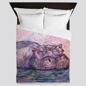 Hippo, wildlife art Queen Duvet