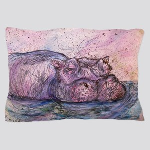 Hippo, wildlife art Pillow Case
