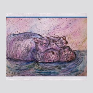 Hippo, wildlife art Throw Blanket