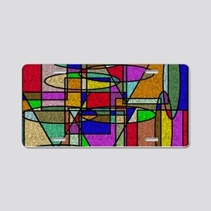 Abstract Stained Glass Aluminum License Plate
