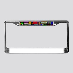 Abstract Stained Glass License Plate Frame
