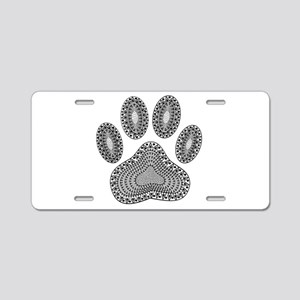Tribal Dog Paw Print Aluminum License Plate